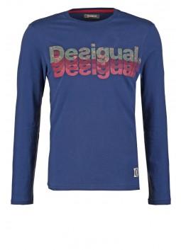 T Shirt Desigual 59T14G6 5127 bleu