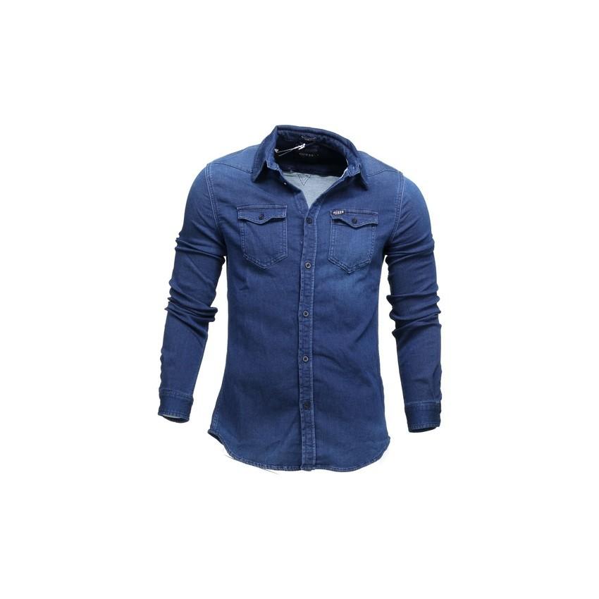 Chemise Guess Homme M74h02d2701 Truckee Shirt Matiere Jog Jeans
