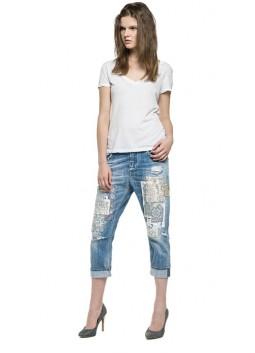 Jeans Replay WX668D bleu délavé usé