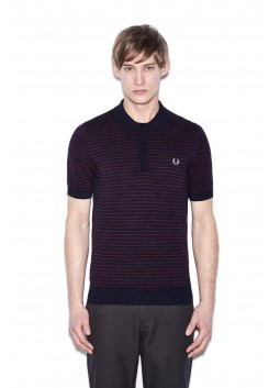 Polo Fred Perry Textured Yarn Strip navy