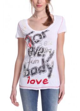 T Shirt Desigual 41T2490 blanc