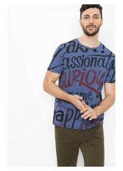 T Shirt Desigual 61T14A4 bleu imprimé