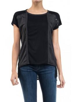 T Shirt Salsa 115817 noir en bi matières