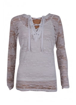 Top Guess W64P54K4ZS0 Lace écru